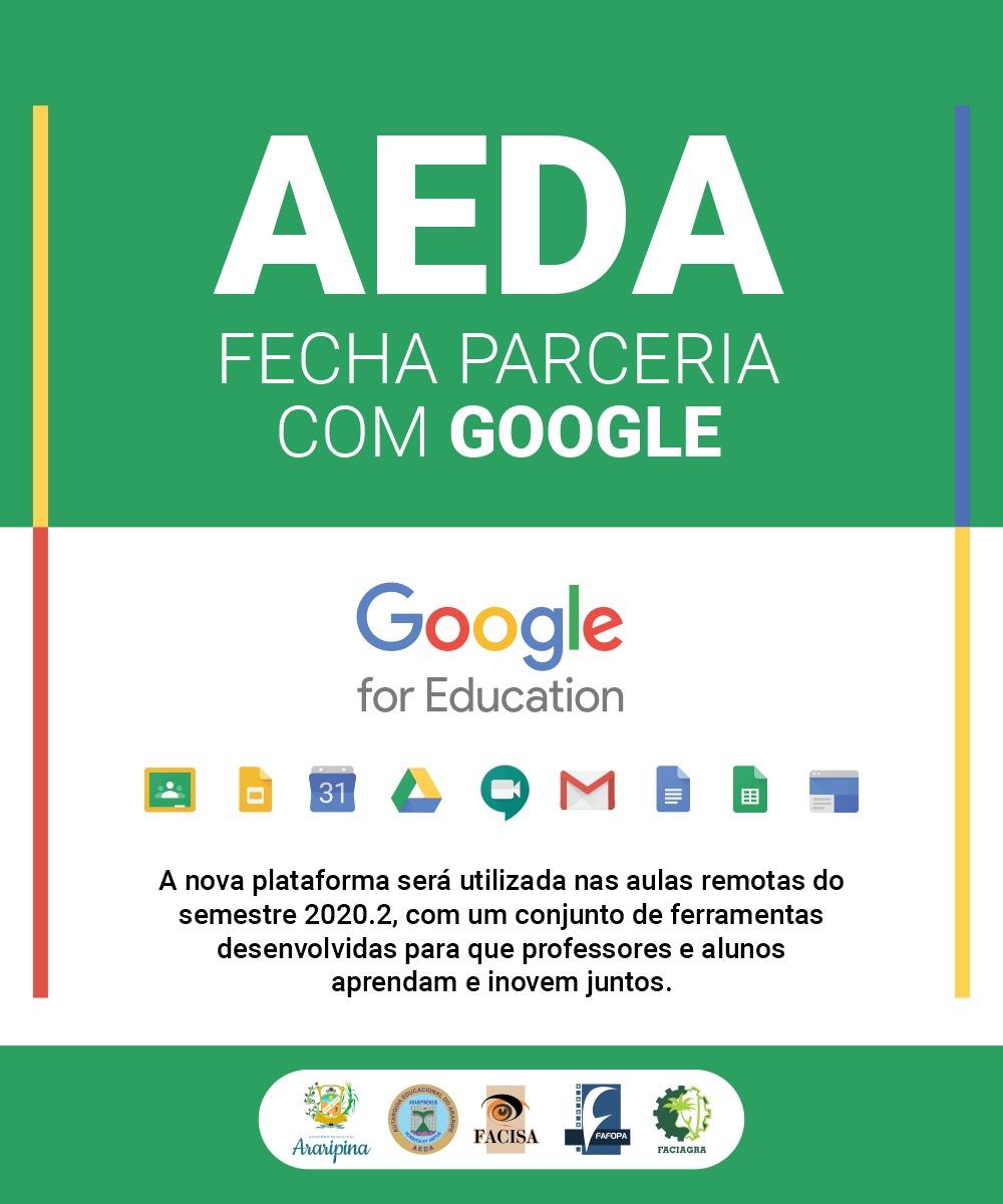 AEDA ANUNCIA PARCERIA COM GOOGLE PARA UTILIZAÇÃO DA PLATAFORMA GOOGLE FOR EDUCATION